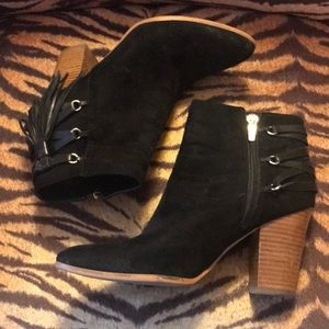 Black Mark Fisher booties with tassels, size 8M